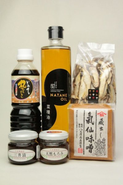 画像1: 菜種油、醤油、味噌、原木干椎茸、もろみ、三升漬セット (1)